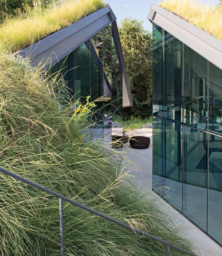 Groundbreaking Architecture with Green Roof and Glass Spaces