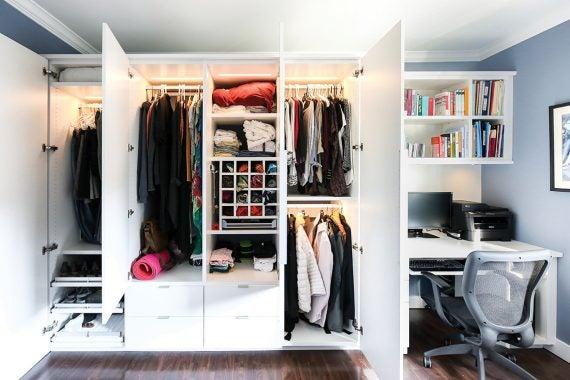 Closet with doors open