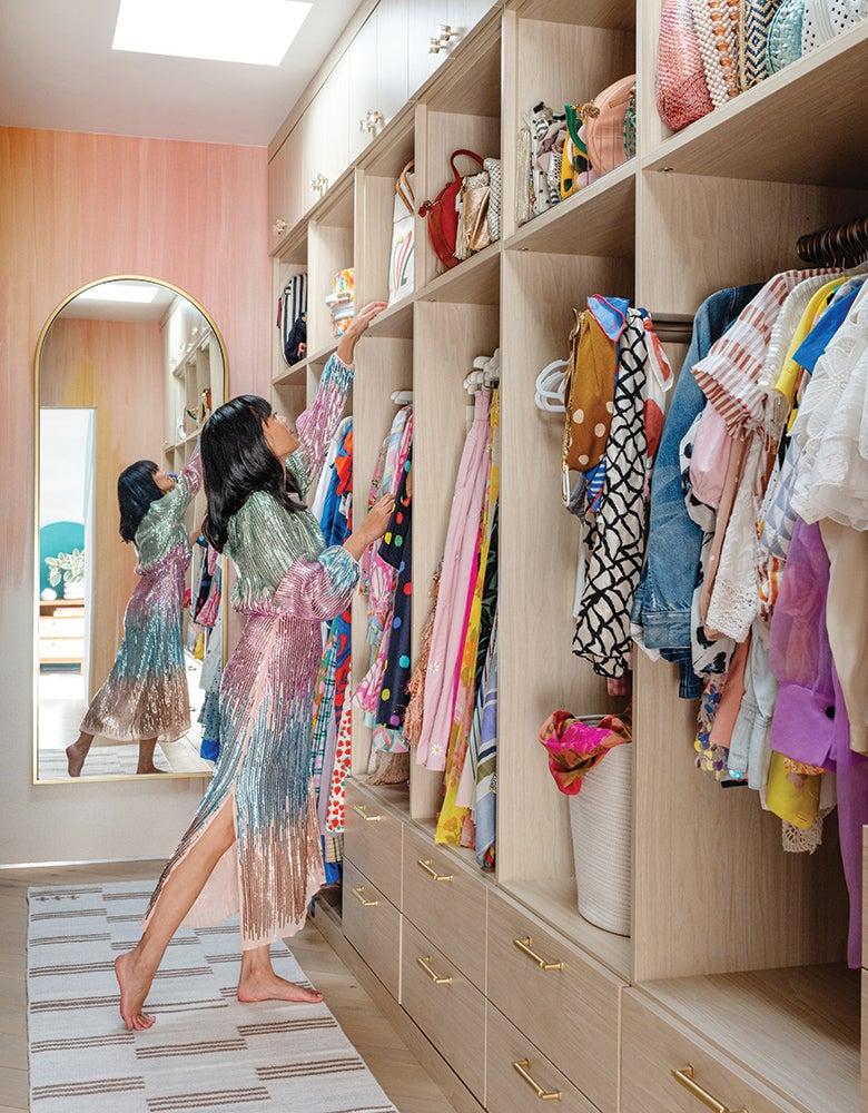 Joy Cho in her closet